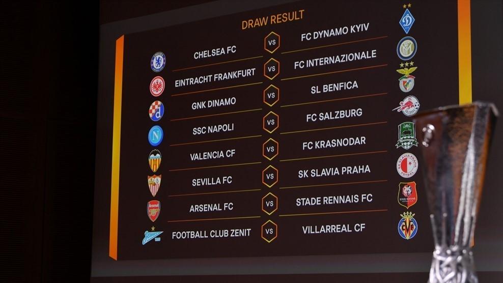 europa league draw 16 finals, 2018,2019
