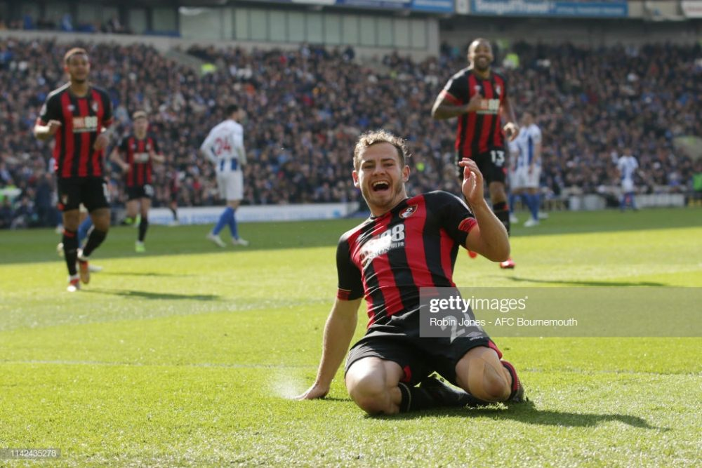 Ryan Fraser of Bournemouth celebrates after he scores
