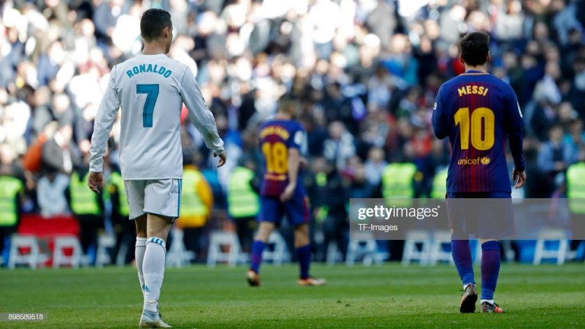 Cristiano Ronaldo of Real Madrid and Lionel Messi of Barcelona