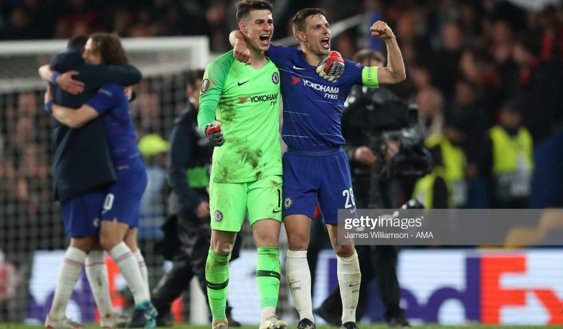 Kepa Arrizabalaga of Chelsea and Cesar Azpilicueta of Chelsea