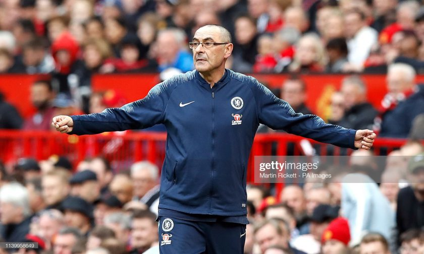 Maurizio Sarri gestures on the touchline
