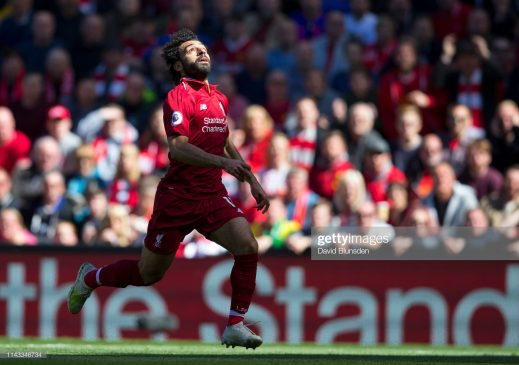 Mohamed Salah of Liverpool races after a long pass