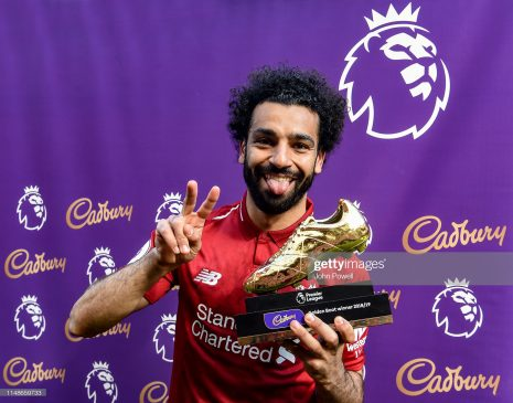 Mohamed Salah of Liverpool with the golden boot