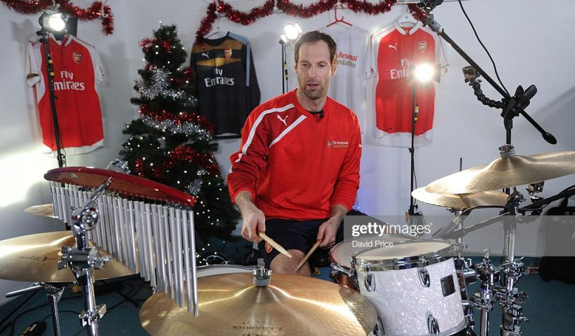 Petr Cech of Arsenal drums
