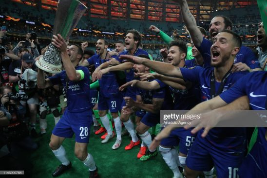 Players of Chelsea celebrate victory