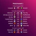 Premier League Fixtures and Schedule for 2019/2020