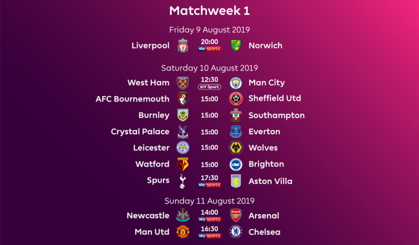 Premier League Fixtures 2019/2020 | | FootballTalk org