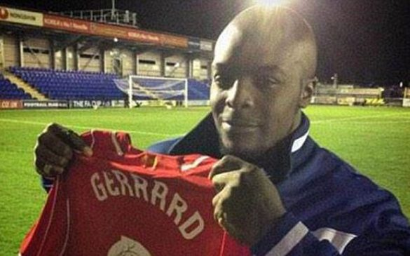 Adebayo Akinfenwa picks up Steven Gerrard shirt