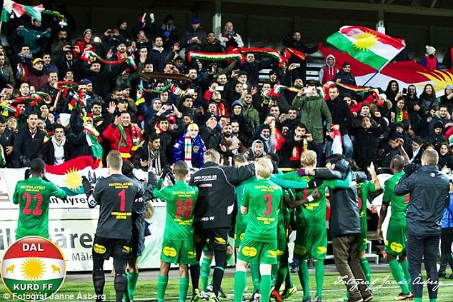 Dalkurd FF players celebrate with fans