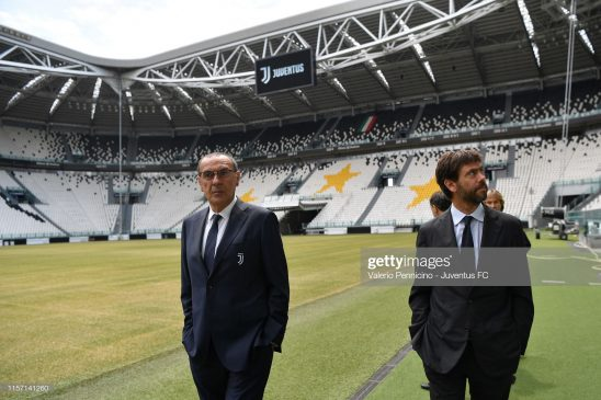 New head coach of Juventus Maurizio Sarri and president Andrea Agnelli