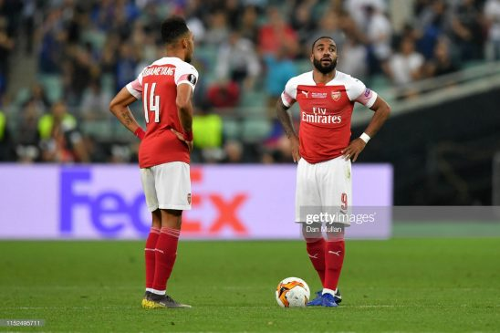Pierre-Emerick Aubameyang and Alexandre Lacazette of Arsenal
