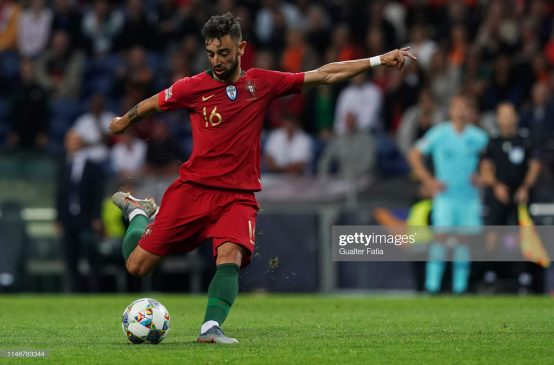 Bruno Fernandes of Portugal and Sporting CP