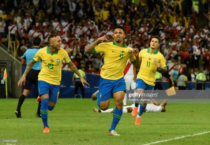 Gabriel Jesus of Brazil celebrates