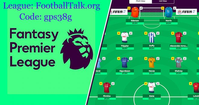 fantasy epl league 2019 code