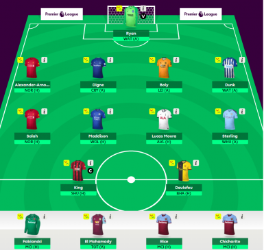 fantasy epl team, round 1, 2019 season