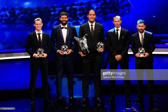 Frenkie De Jong of Barcelona, Alisson Becker of Liverpool, Virgil Van Dijk of Liverpool, Aleksander Ceferin president of UEFA and Lionel Messi