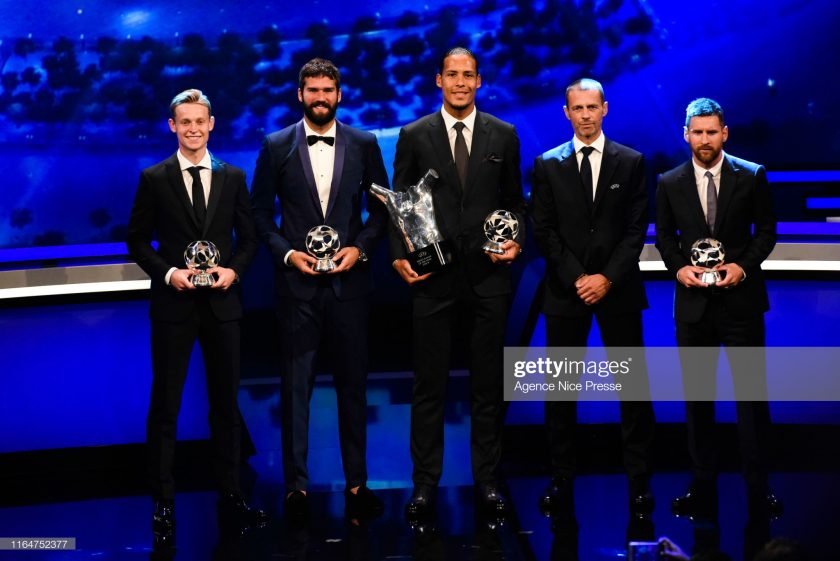 Frenkie De Jong of Barcelona, Alisson Becker of Liverpool, Virgil Van Dijk of Liverpool, Aleksander Ceferin president of UEFA and Lionel Messi