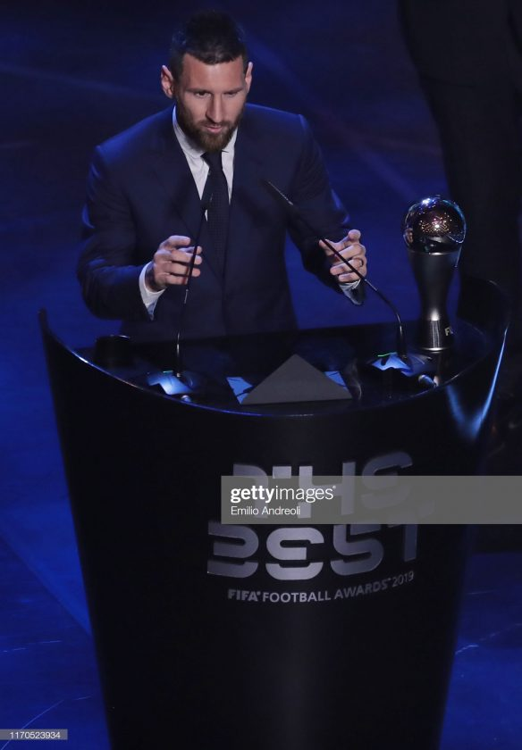 Lionel Messi receives The Best FIFA Men's Player of the Year award