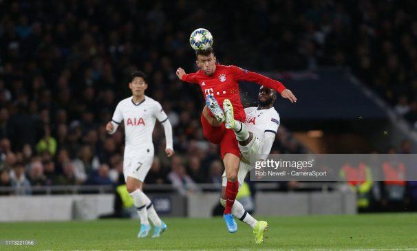 Bayern Munich's Ivan Perisic and Tottenham Hotspur's Danny Rose