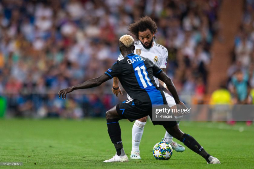 Krepin Diatta of Club Brugge and Marcelo of Real Madrid