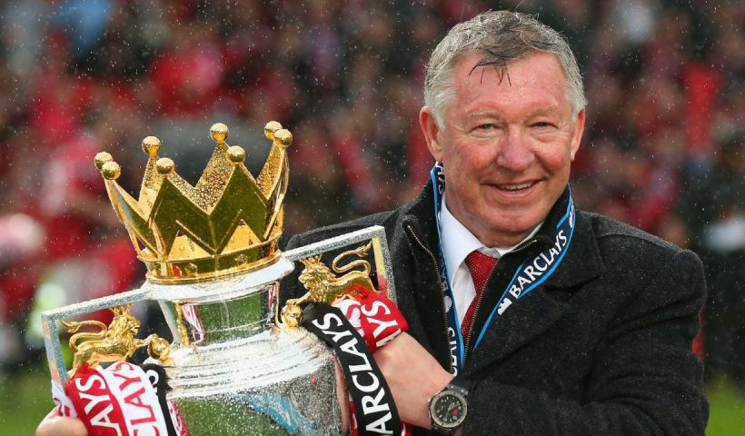 sir alex ferguson with trophy