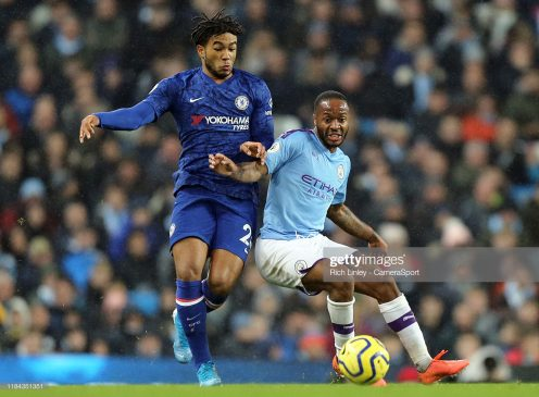 Chelsea's Reece James battles with Manchester City's Raheem Sterling
