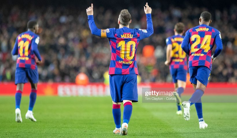 Lionel Messi #10 of Barcelona reacts after completing his hat trick