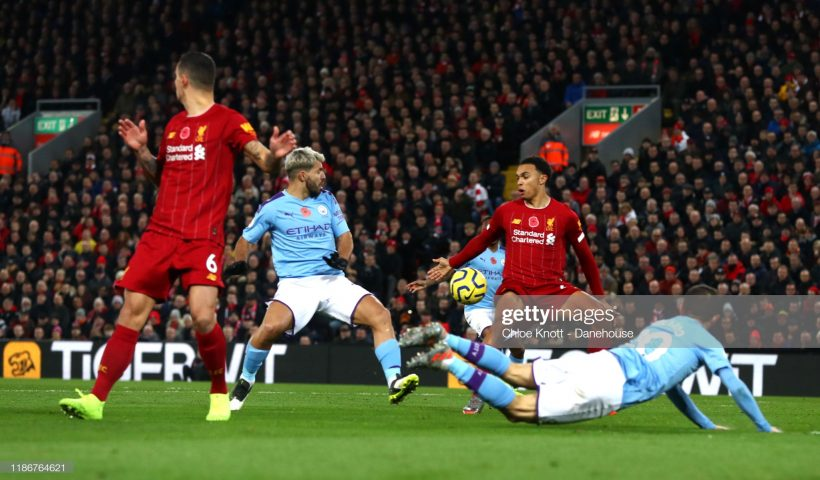 Trent Alexander-Arnold of Liverpool handles the ball