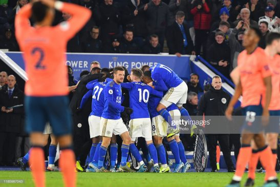 Leicester City players celebrate after VAR awarded a goal