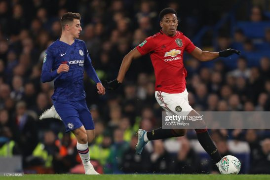 Mason Mount of Chelsea and Anthony Martial of Manchester United