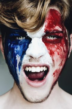 france flag face painting