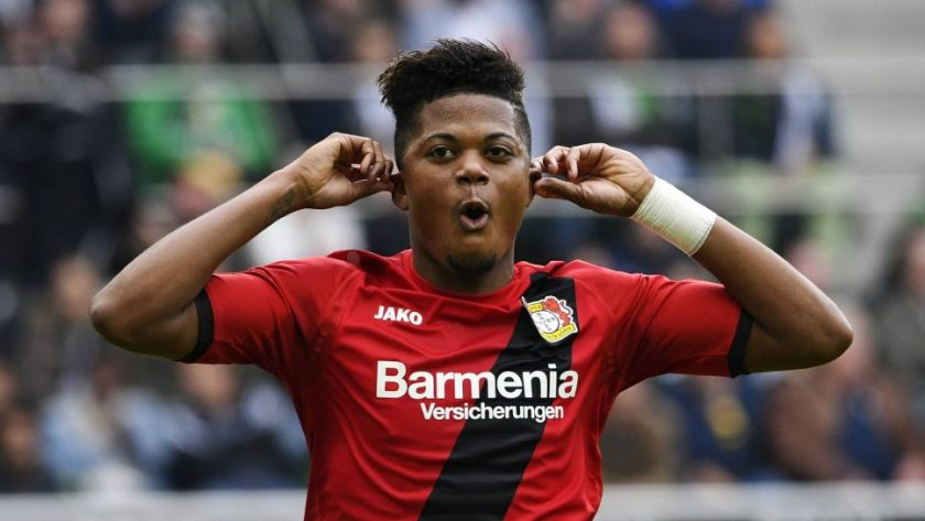 Leon Bailey celebrates goal in Bayer Leverkusen