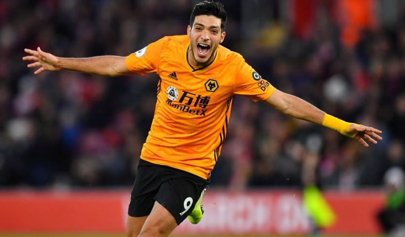 raul jimenez from wolves celebrates goal