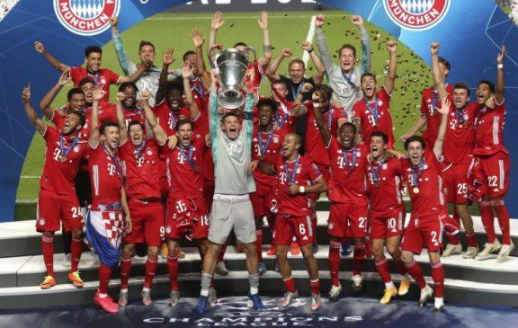 bayern munich celebrate champions league winners 2020