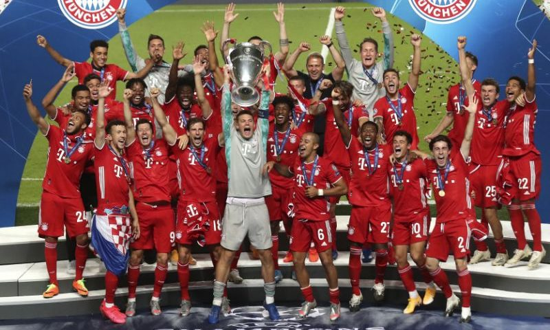 bayern munich celebrate champions league winners 2020
