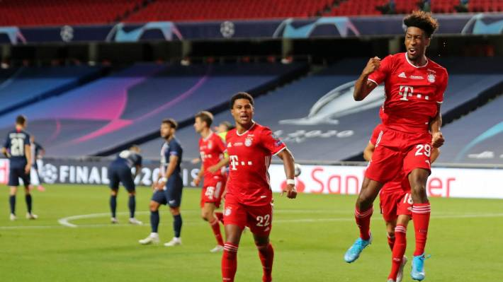 kingsley coman celebrates goal against psg in champions league final 2020