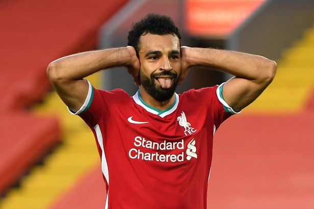 salah celebrates goal against leeds